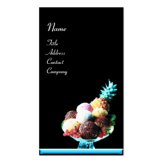 ICE CREAM  - DESERT SHOP,blue black Double-Sided Standard Business Cards (Pack Of 100)