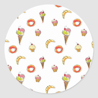 Ice Cream, Donuts & Cupcakes Design Classic Round Sticker