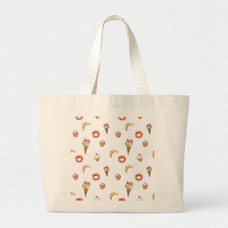 Ice Cream, Donuts & Cupcakes Design Large Tote Bag