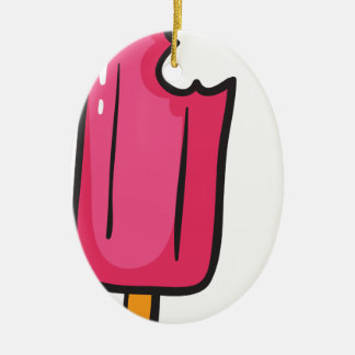 ice cream Double-Sided oval ceramic christmas ornament