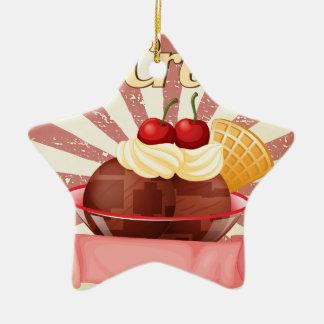 Ice cream Double-Sided star ceramic christmas ornament