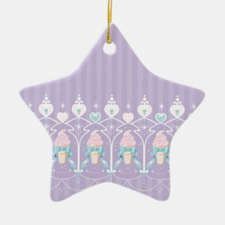 Ice Cream Dream - Lavender Double-Sided Star Ceramic Christmas Ornament