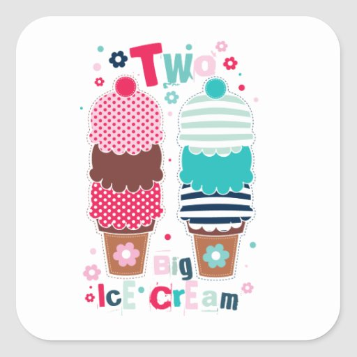 Ice Cream Food Desserts Sweet Snack Two Love Square Sticker