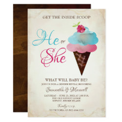 Ice Cream Gender Reveal Invitation - Small