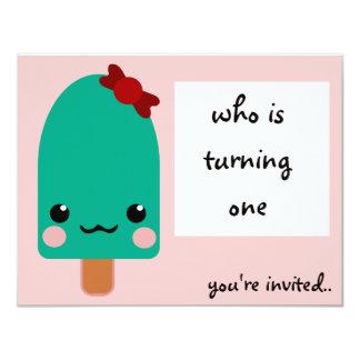 "ice cream green 4.25"" x 5.5"" invitation card"