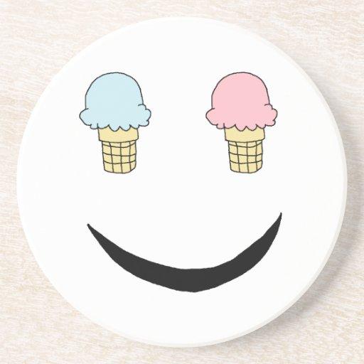 Ice Cream Happy Face Drink Coaster