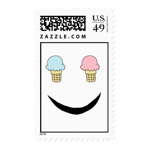 Ice Cream Happy Face Postage Stamp