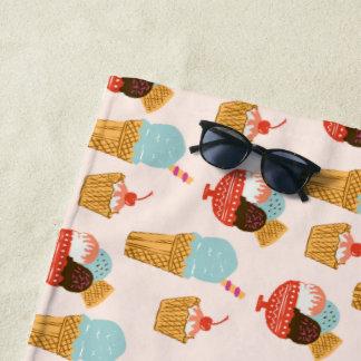 Ice Cream Illustration Pattern Beach Towel