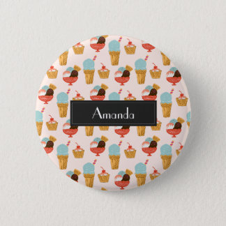 Ice Cream Illustration Pattern with Name Pinback Button