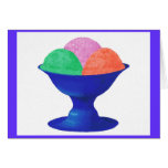 Ice cream in blue bowl, party invitation, card