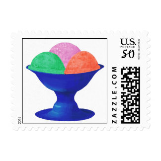 Ice cream in blue bowl, postage stamp