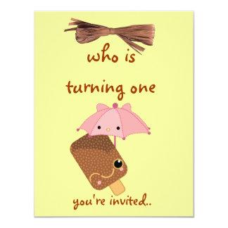 """ice cream invitation 4.25"""" x 5.5"""" invitation card"""