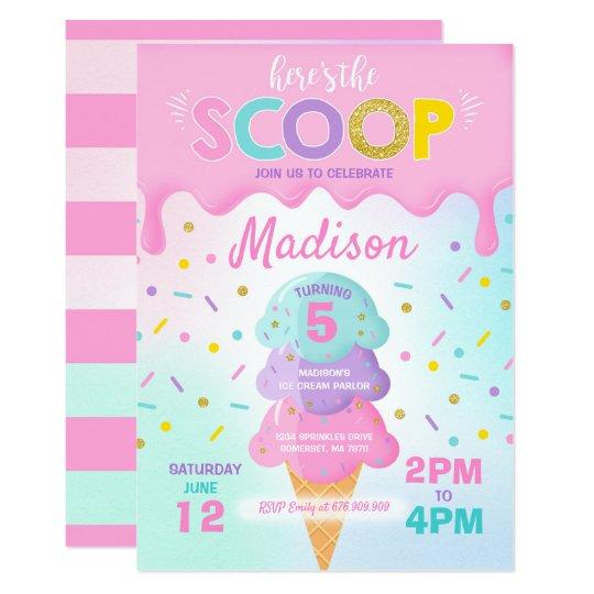 Ice Cream Invitation Ice Cream Birthday Party