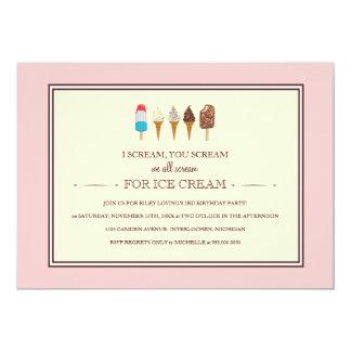 Ice Cream Kids Birthday Party Invitations
