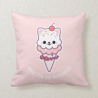 Ice Cream Kitty Throw Pillow