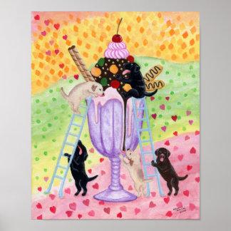 Ice Cream Labradors Artwork Poster