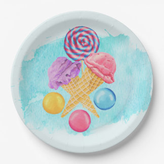 Ice Cream Lollipop and Candy Paper Plate