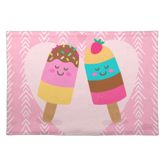 Ice cream lovers be my valentine cloth placemat