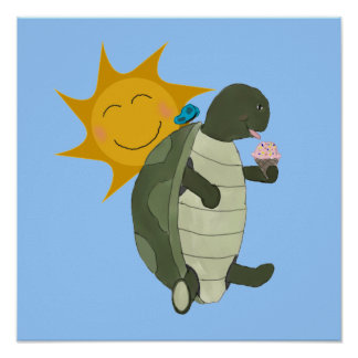 Ice Cream-Loving Turtle and Butterfly Poster Print