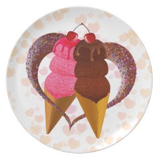 Ice cream melamine plate