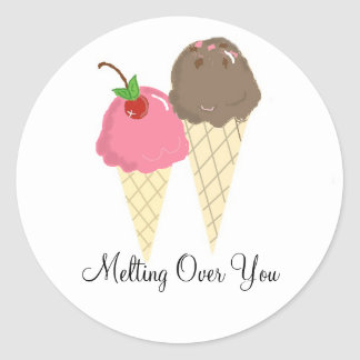 Ice Cream -  Melting Over You Classic Round Sticker