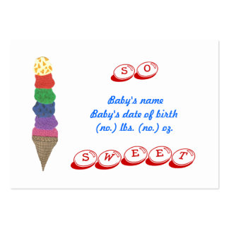 Ice cream mini birth announcement photo card large business cards (Pack of 100)