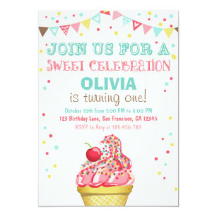 Ice cream birthday invitations zazzle ice cream mint pink party birthday invitation filmwisefo