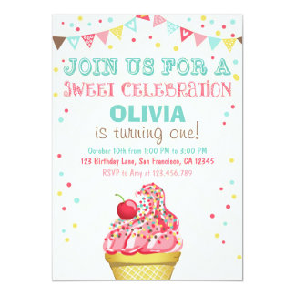 Ice Cream Mint Pink Party Birthday Invitation