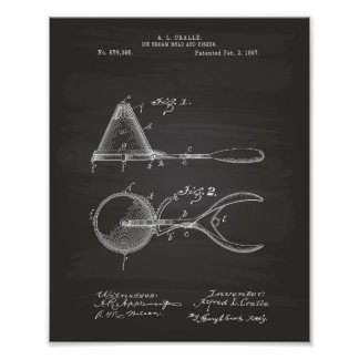 Ice Cream Mold 1897 Patent Art  Chalkboard Poster