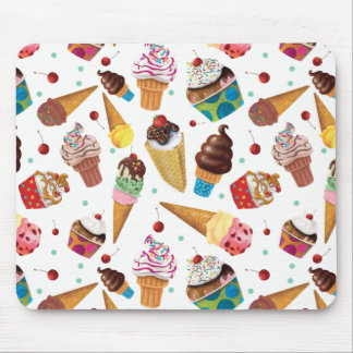 Ice Cream Novelty Print Mouse Pad, White Mouse Pad