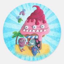 artsprojekt, monster ice cream, beach, ice cream stand, holidays, vacations, children illustration, monster, ice cream, summer, summer time, ice cream cone, pink ice cream, ice cream gift, ice cream present, kids, children, kid, illustration, nursery, Sticker with custom graphic design