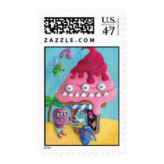 Ice Cream on the Beach Postage Stamp