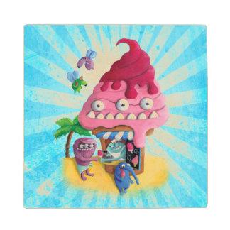 Ice Cream on the Beach Wooden Coaster