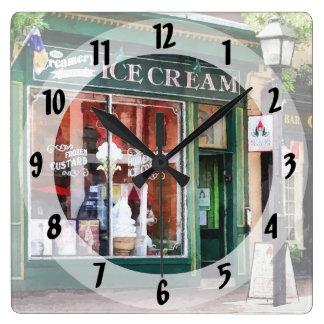 Ice Cream Parlor Alexandria VA Square Wall Clock