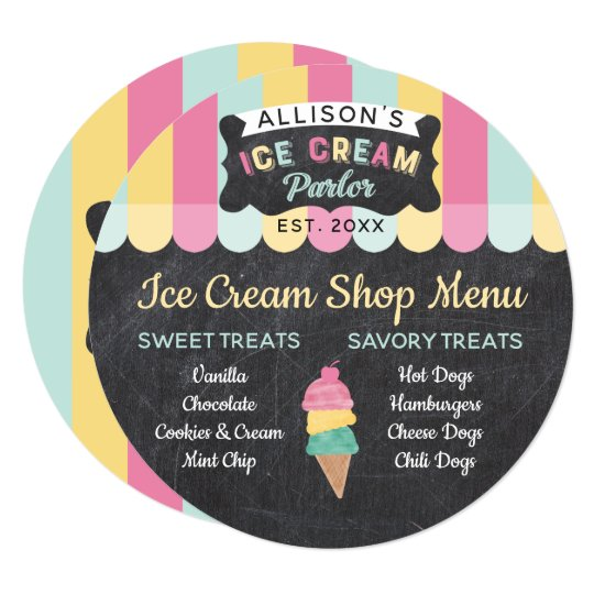 Ice Cream Parlor Fun Kids Birthday Party Menu Card Zazzle