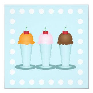 """Ice Cream Parlor 5.25"""" Square Invitation Card"""