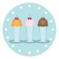 Ice Cream Parlor Round Stickers