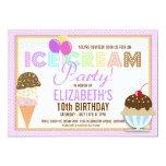 "Ice Cream Party 5"" X 7"" Invitation Card"