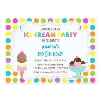 "Ice Cream Party Birthday Invitation 5"" X 7"" Invitation Card"