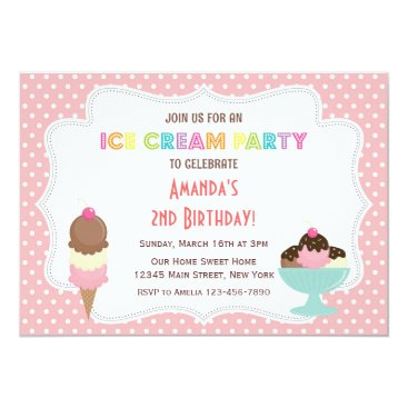 Beach Themed Ice Cream Party Birthday Invitation
