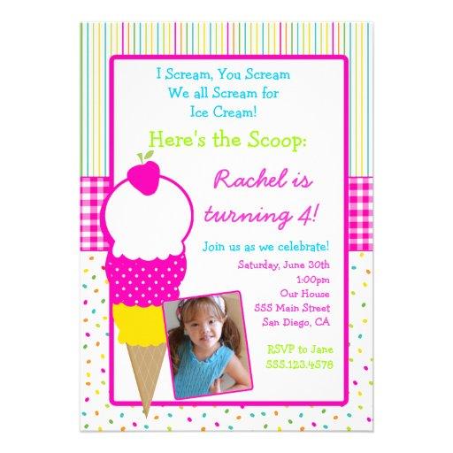 Personalized Ice Cream Party Invitations Custominvitations4u