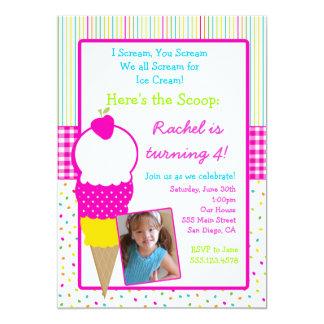 Ice Cream Party Birthday Invitations