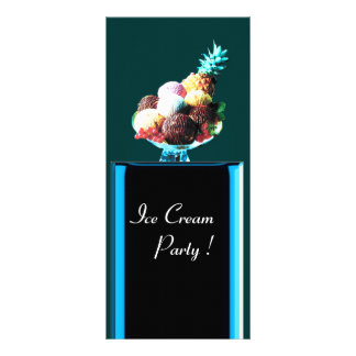 ICE CREAM PARTY - DESERT SHOP,blue red black green Rack Card