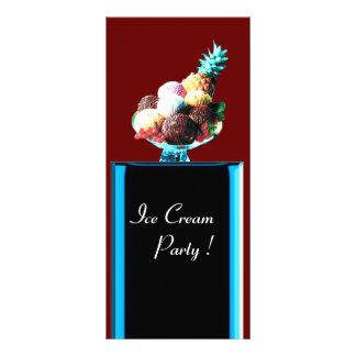 ICE CREAM PARTY - DESERT SHOP,blue red black Rack Card