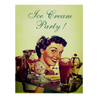 ICE CREAM PARTY Girl with Tray of Ice Creams Poster