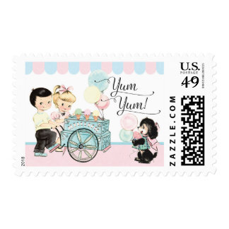 Ice cream party invitations matching stamps
