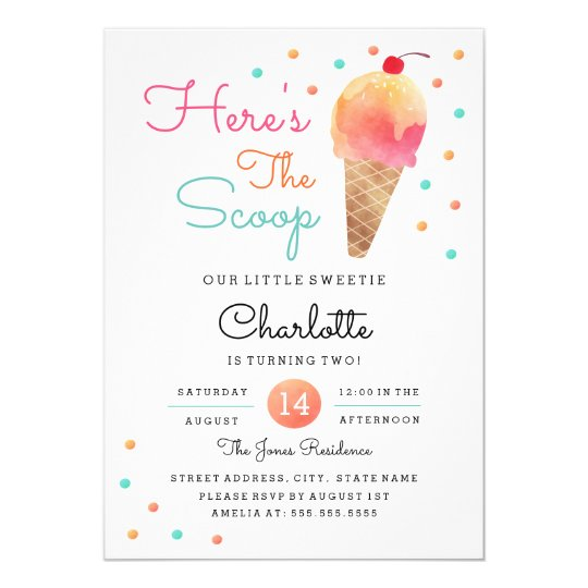 Ice Cream Party Kids Birthday Party Invitation Zazzle Com