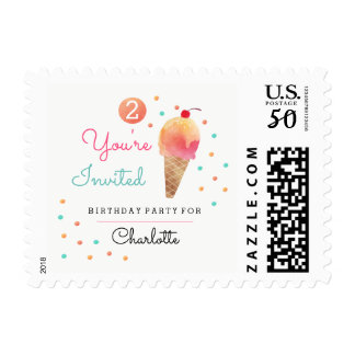 Ice Cream Party Kids Birthday Party Stamp