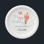 """Ice Cream Party Kids Party Paper Plate<br><div class=""""desc"""">Fun colorful pink,  orange and mint ice cream and confetti design. Matching collection in the Little Bayleigh Store.</div>"""
