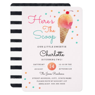 Ice Cream Party Kids Pink Birthday Invitation
